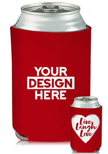 Promotional Collapsible Can Cooler Heart Live Laugh Love Print | KZ456