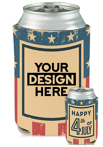 Personalized Collapsible Can Coolers 4th of July Print