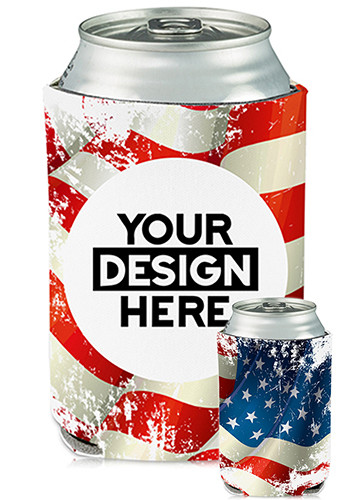 Customized Collapsible Can Coolers American Flag Print