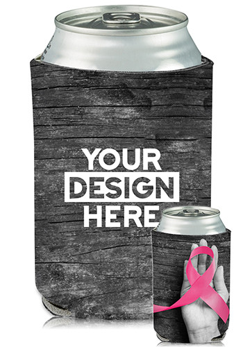 Wholesale Collapsible Can Coolers Breast Cancer Ribbon Print