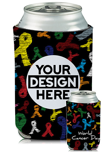 Collapsible Can Coolers Cancer Awareness Print  KZ459