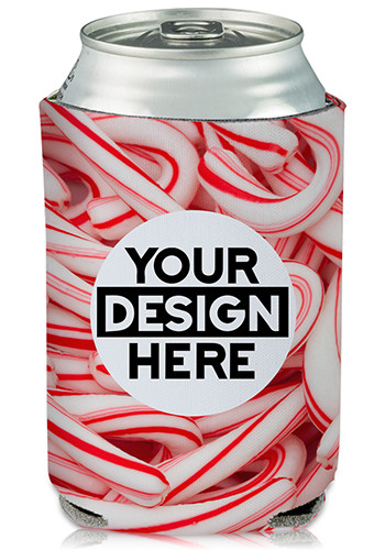 Custom Collapsible Can Coolers Candy Cane Print