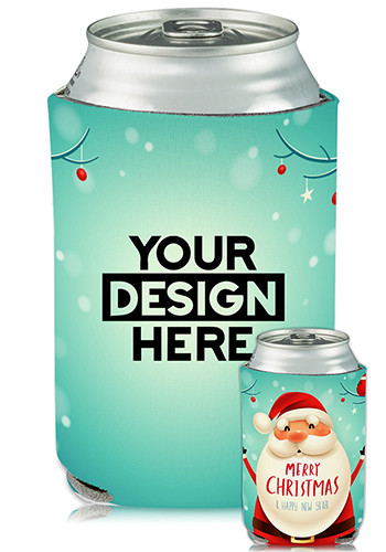 Customized Collapsible Can Coolers Christmas Santa Print