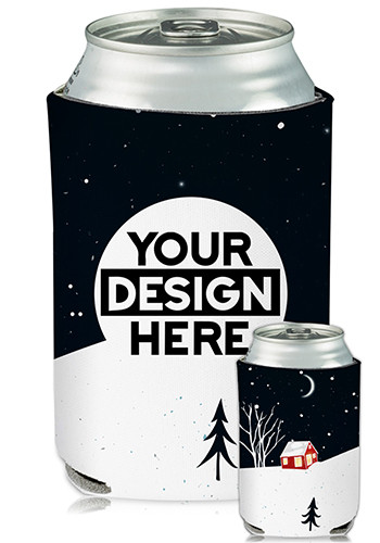 Customized Collapsible Can Coolers Holiday Print