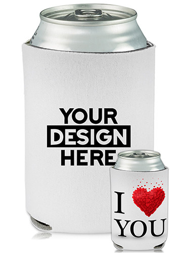 Custom Collapsible Can Coolers I Heart You Print