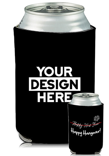 Promotional Collapsible Can Coolers New Years Print