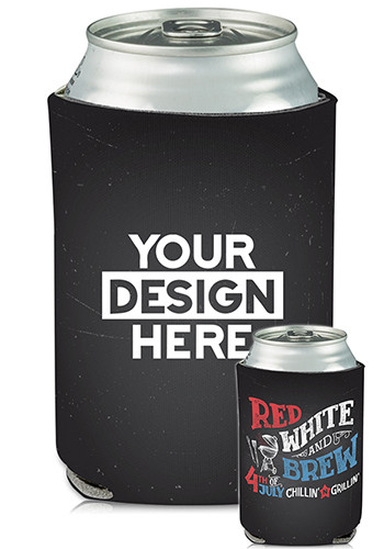 Custom Collapsible Can Coolers Red White and Brew Print