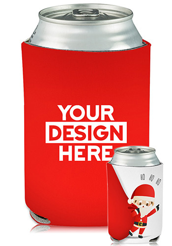 Customized Collapsible Can Coolers Santa Claus Print