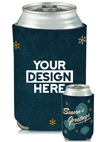 Personalized Collapsible Can Coolers Seasons Greeting Print