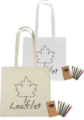 Personalized Cotton Coloring Tote Bag with Crayons