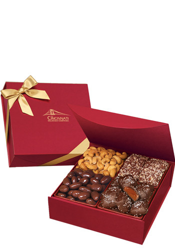 Personalized 1.25 lbs. Assorted Chocolates and Nuts in Scarlet Magnetic Closure Keepsake Box