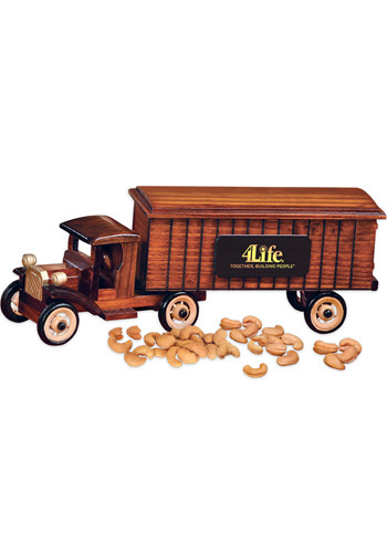Personalized 1930 Wooden Tractor-Trailer Truck with Extra Fancy Jumbo Cashews