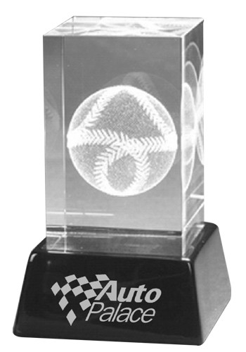 Custom 3D Crystal Cube Baseball Sculptures