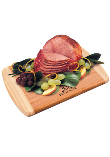 Promotional Bamboo Cutting Boards with Honey Cured Spiral-Sliced Boneless Ham