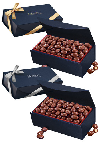 Customized Chocolate Covered Almonds in Navy Blue Magnetic Closure Gift Box
