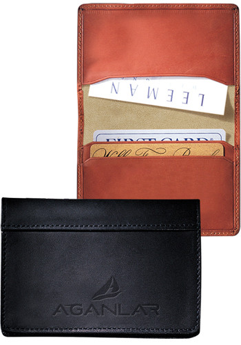 Customized Fire Island Sueded Full-Grain Leather Business Card Cases