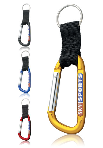 Personalized Full Color N-dome Carabiners with Woven Straps