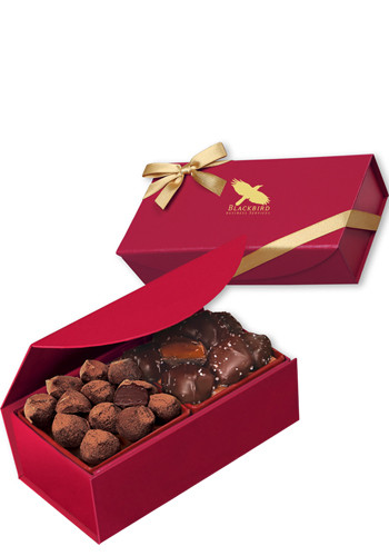 Bulk Chocolate Sea Salt Caramels & Cocoa Dusted Truffles in Magnetic Closure Gift Boxes