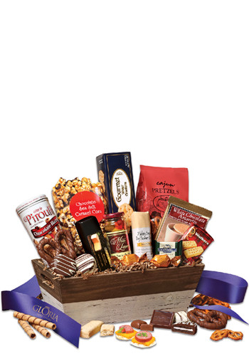 Wholesale Sweet & Savory Gift Basket with Blue Ribbon