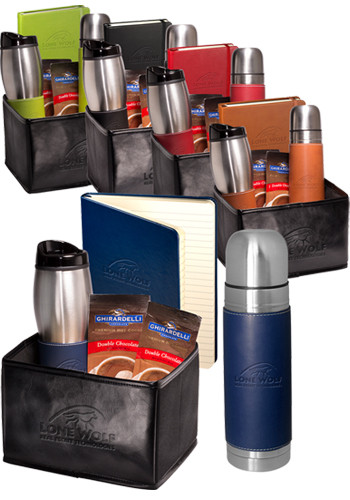 Customized Tuscany™ Stainless Steel Thermos, Tumbler, Journal and Ghirardelli Gift Set
