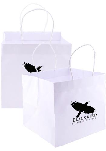 White Kraft Paper Takeout Bags