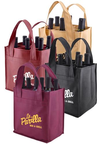 Customized Polypropylene Verstile 6 Bottles Wine Bags