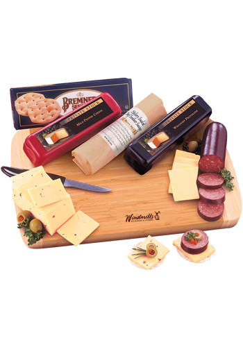 Customized Shelf-Stable Wisconsin Variety Package with Knife and Bamboo Cutting Board