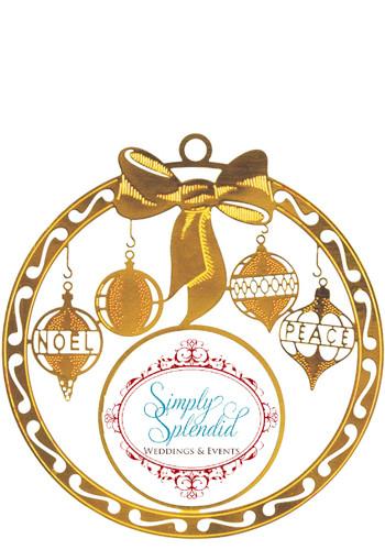 Custom Bow Bright Brass Holiday Ornaments