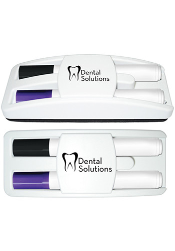 Promotional Dry Erase Gear Marker and Eraser Set with Black and Purple Markers