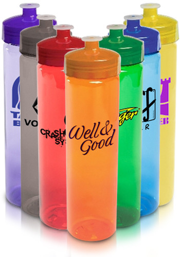 24 oz. Plastic Water Bottles with Lid  | EM4400