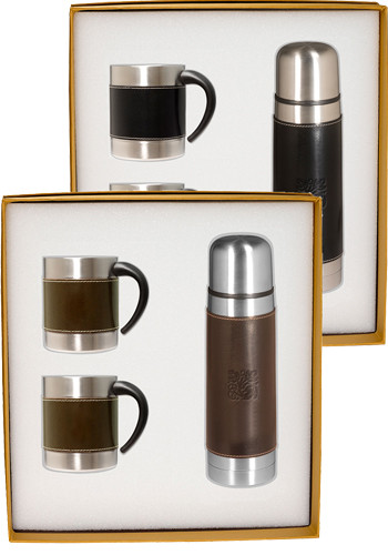 Promotional Empire™ Stainless Steel Thermos & Coffee Cups Gift Set