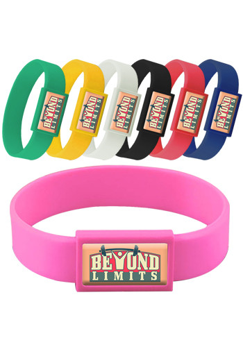 Wholesale Express Vibraprint Silicone Wristbands with Large Emblematic Patch