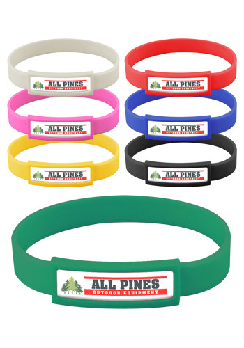Promotional Express Vibraprint Silicone Wristbands with Narrow Emblematic Patch