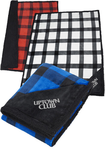 Personalized Field and Co Buffalo Plaid Sherpa Blanket