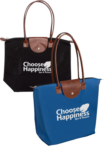 Folding Totes with Leather Flap
