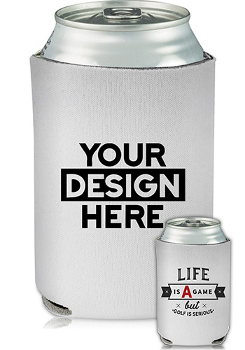 Promotional Collapsible Can Cooler Golf Is Serious Print