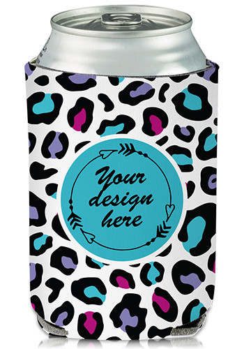 Customized Collapsible Can Cooler Leopard Pop Print