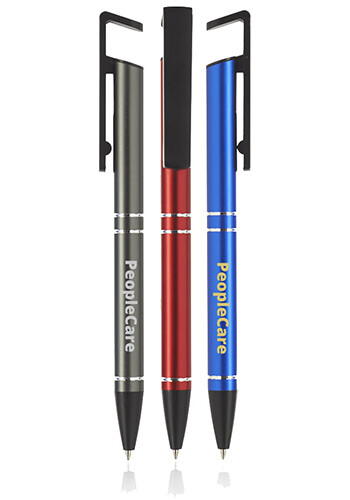 Customized Grand Push Action 2-in-1 Metal Cell Stand Pens