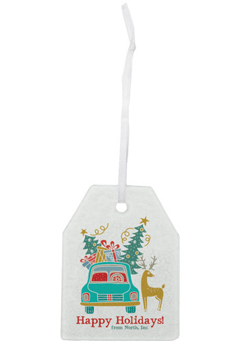 Personalized Hammered Gift Tag Glass Ornaments