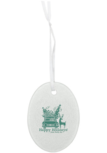 Promotional Hammered Oval Glass Ornaments