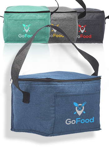 Custom 6 Pack Insulated Heathered Lunch Bags