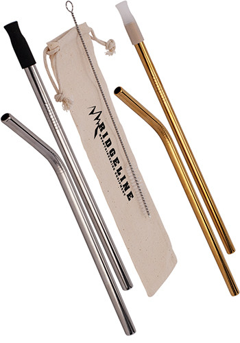 Promotional Hoover Stainless Steel Straw Set