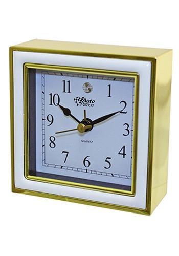 Personalized Square Alarm Clocks (White Enamel/Gold)