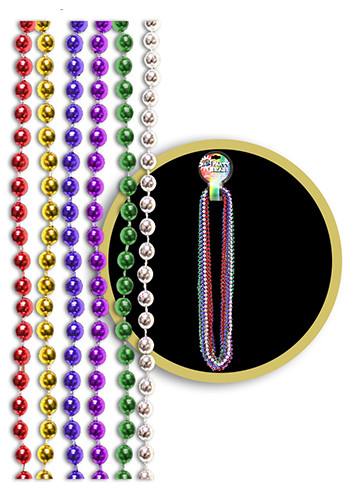 Assorted Color Metallic Beaded Necklaces | WCJLR095
