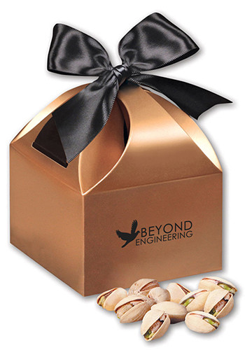 Promotional Jumbo California Pistachios in  Copper Gift Boxes