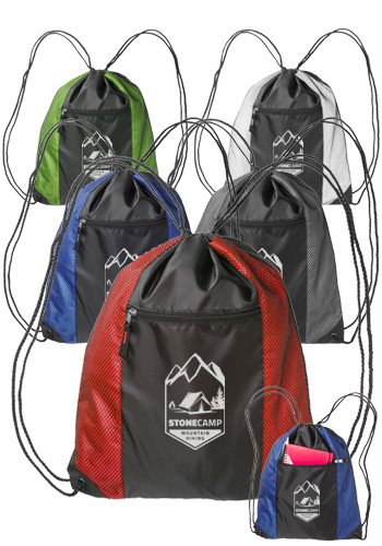 Zipper Pocket Drawstring Backpacks