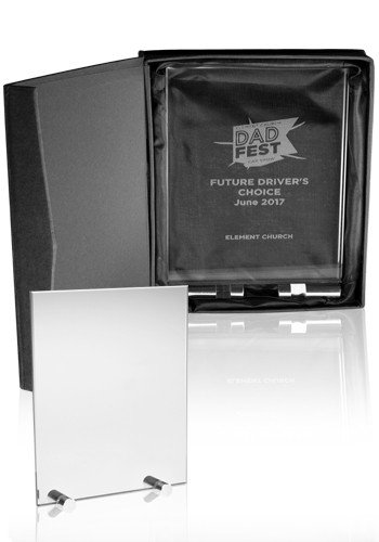 Custom Large Chroma Glass Awards with Double Stand