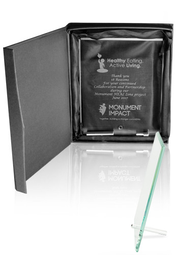 Customized Large Jade Glass Plaque Awards with Stand