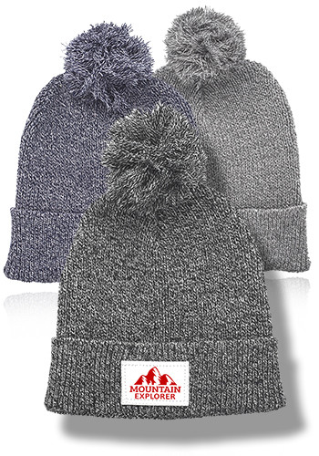 Mauna Knitted Patch Pom Pom Beanies | BNY005