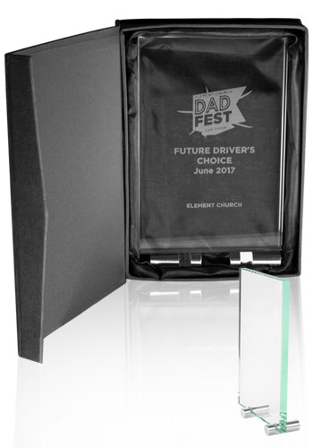 Personalized Mid Size Chroma Glass Awards with Double Stand